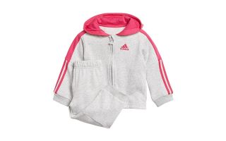 adidas CHANDAL LOGO HOODED FLEECE NIÑA BLANCO ROSA