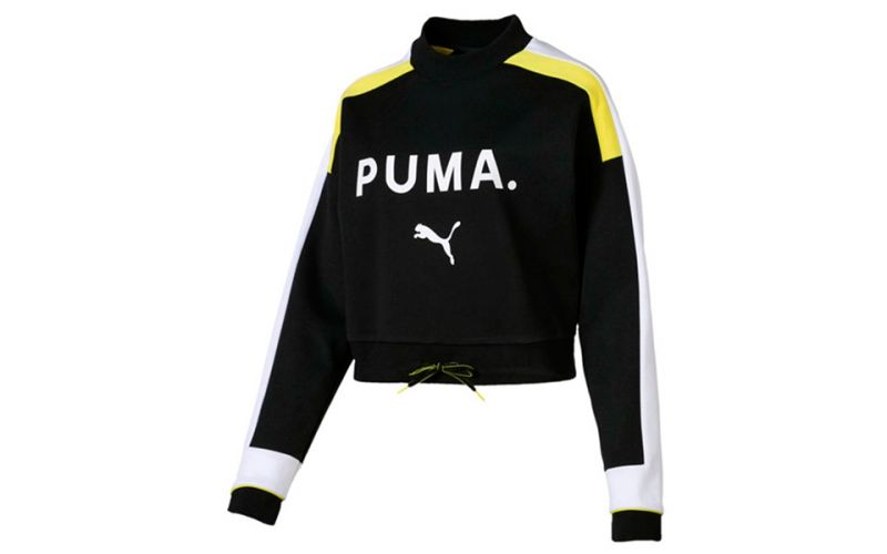 812e3e3ee Sudadera Puma Chase Crew Negro Amarillo Blanco Mujer - Cómoda