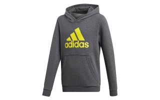 adidas SUDADERA ESSENTIALS LOGO GRIS AMARILLO JUNIOR