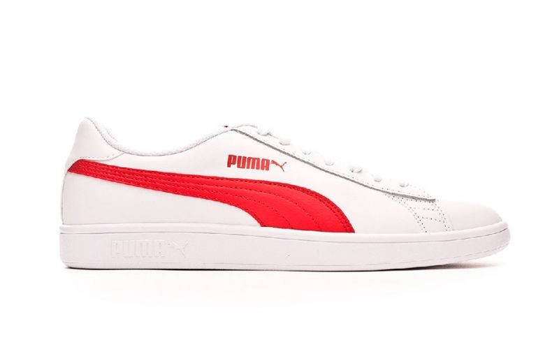 Puma Smash V2 L White Red - Sneakers with comfortable interior 62bc5f2da