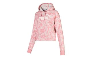 PUMA SUDADERA ELEVATED ESSENTIALS LOGO CROPPED AOP ROSA MUJER
