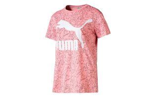 PUMA T-SHIRT CLASSICS LOGO ROSE BLANC