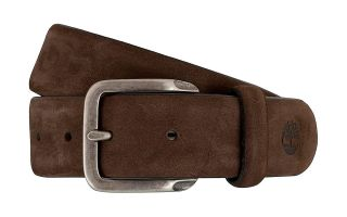 Timberland NUBUCK LEATHER BELT DARK BROWN