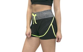 Softee SHORT FIT PARIS NOIR JAUNE FLUO FEMME
