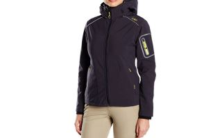 CMP CHAQUETA ZIP HOOD SOFTSHELL GRIS LIMÓN MUJER