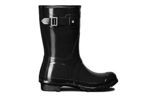 Hunter STIEFEL SHORT GLOSS SCHWARZ DAMEN WFS1000RGL BLK