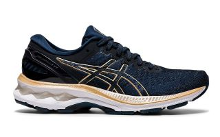 Asics GEL-KAYANO 27 BLAU GOLD DAMEN 1012A649 402