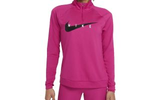 Nike T-SHIRT SWOOSH RUN FUCHSIA WOMEN LONG SLEEVE