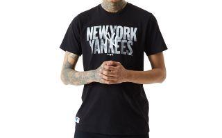New Era T SHIRT NEW YORK YANKEES MLB PHOTOGRAPHIC WORDMARK BLACK