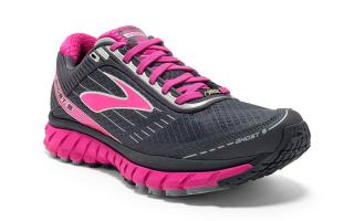 BROOKS GHOST 9 GTX MUJER GRIS FUCSIA 1202241B048
